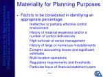 materiality for planning purposes1