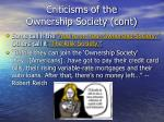 criticisms of the ownership society cont