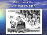 criticisms of the ownership society