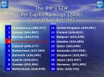 the imf s gdp per capita rankings 2006 purchasing power parity ppp