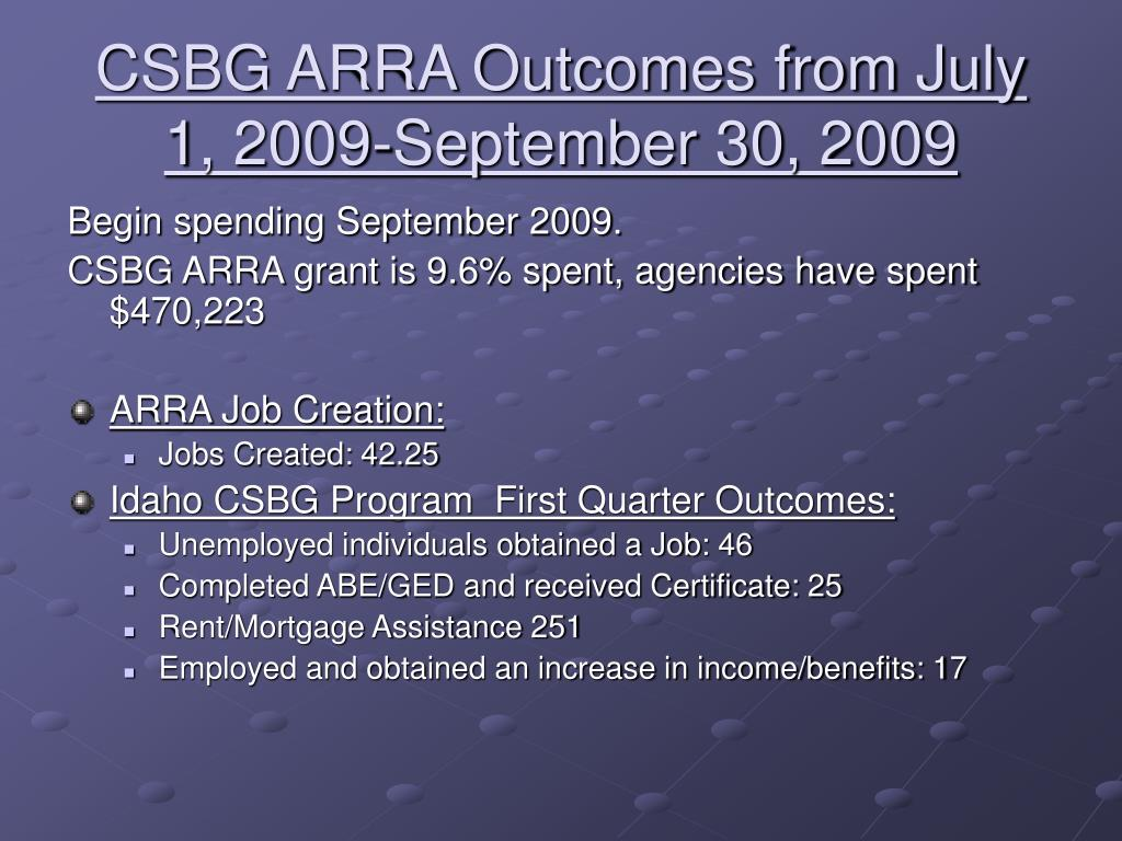 CSBG ARRA Outcomes from July 1, 2009-September 30, 2009