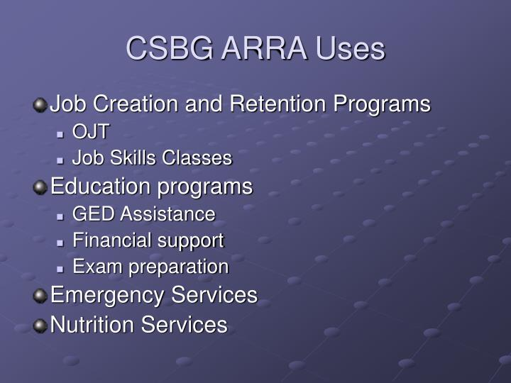 Csbg arra uses