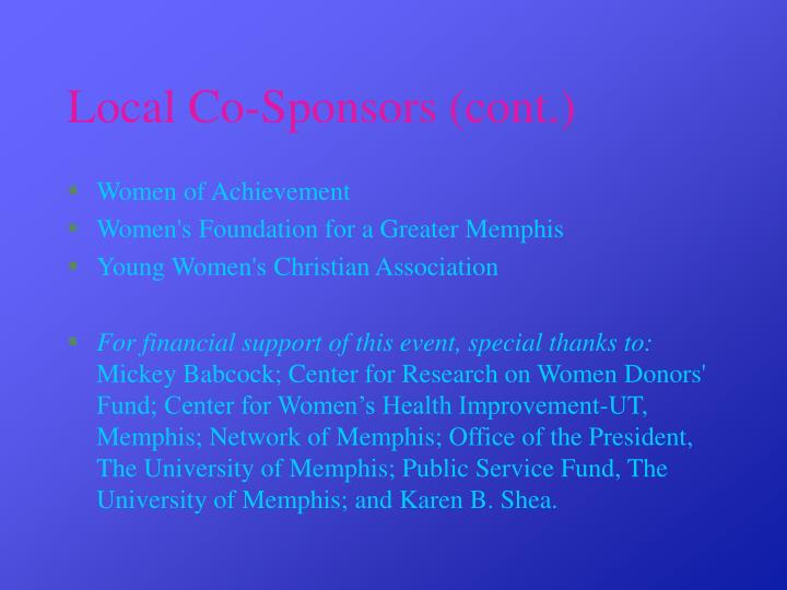 Local Co-Sponsors (cont.)