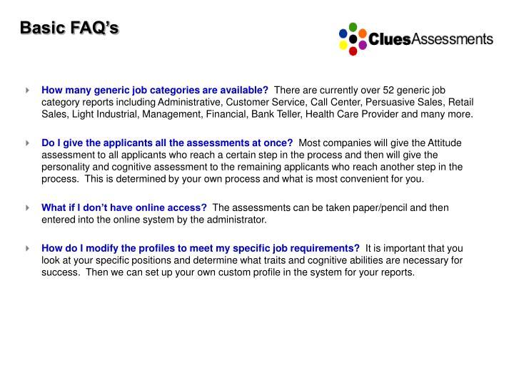 Basic FAQ's