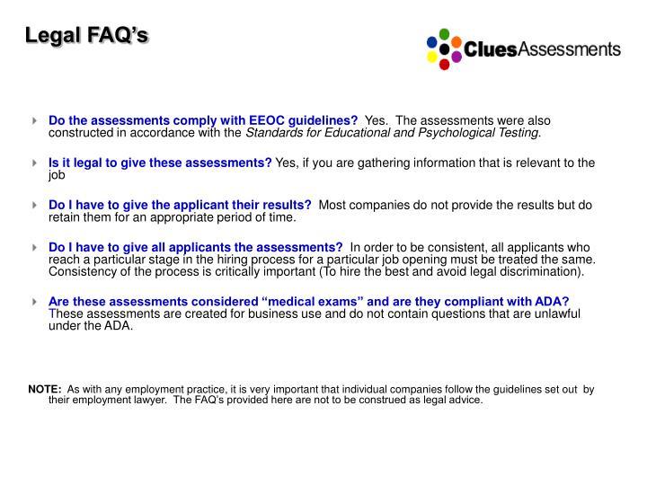 Legal FAQ's