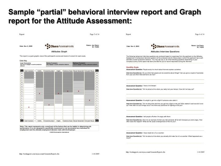 """Sample """"partial"""" behavioral interview report and Graph report for the Attitude Assessment:"""