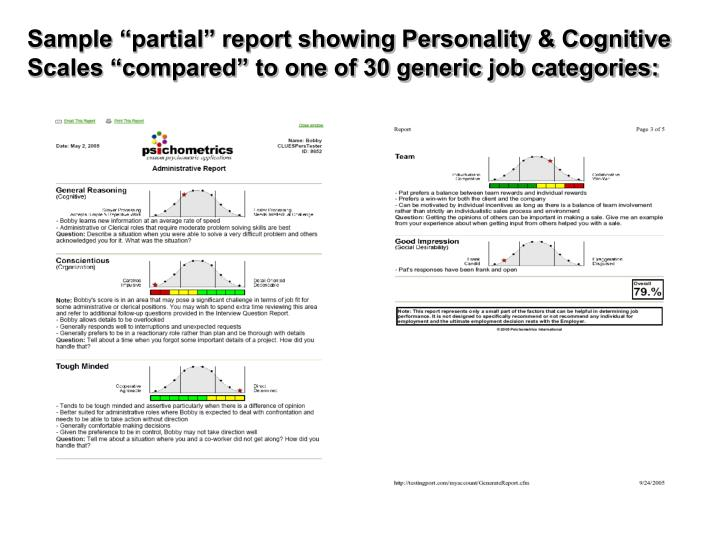 """Sample """"partial"""" report showing Personality & Cognitive Scales """"compared"""" to one of 30 generic job categories:"""