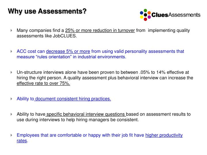 Why use assessments