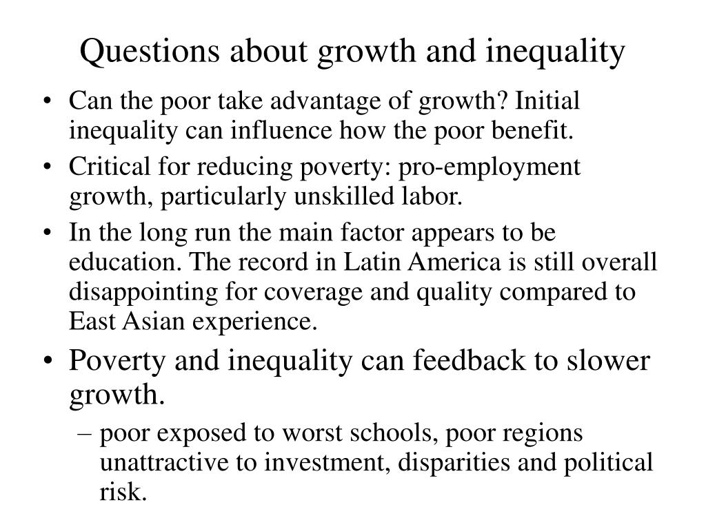 Questions about growth and inequality