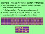 example annual air revenues for 10 markets