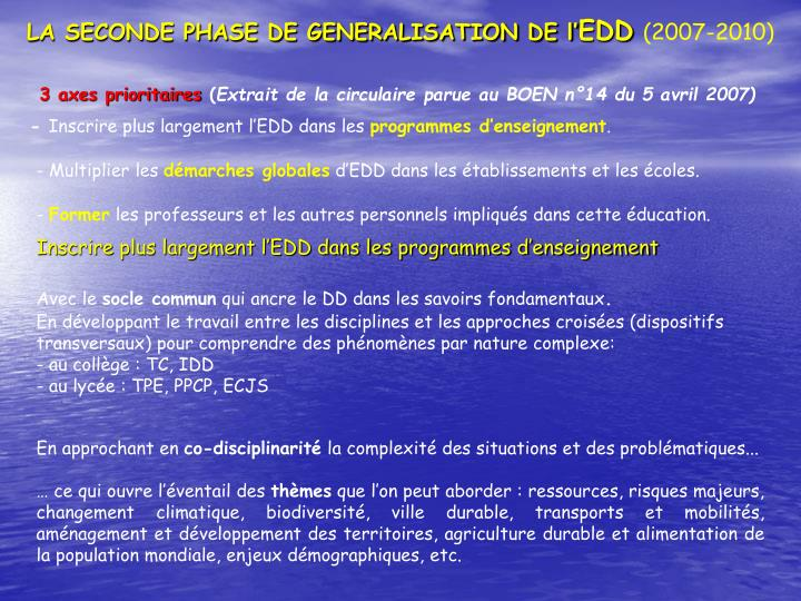 LA SECONDE PHASE DE GENERALISATION DE l'