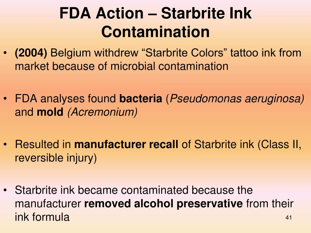 FDA Action – Starbrite Ink Contamination