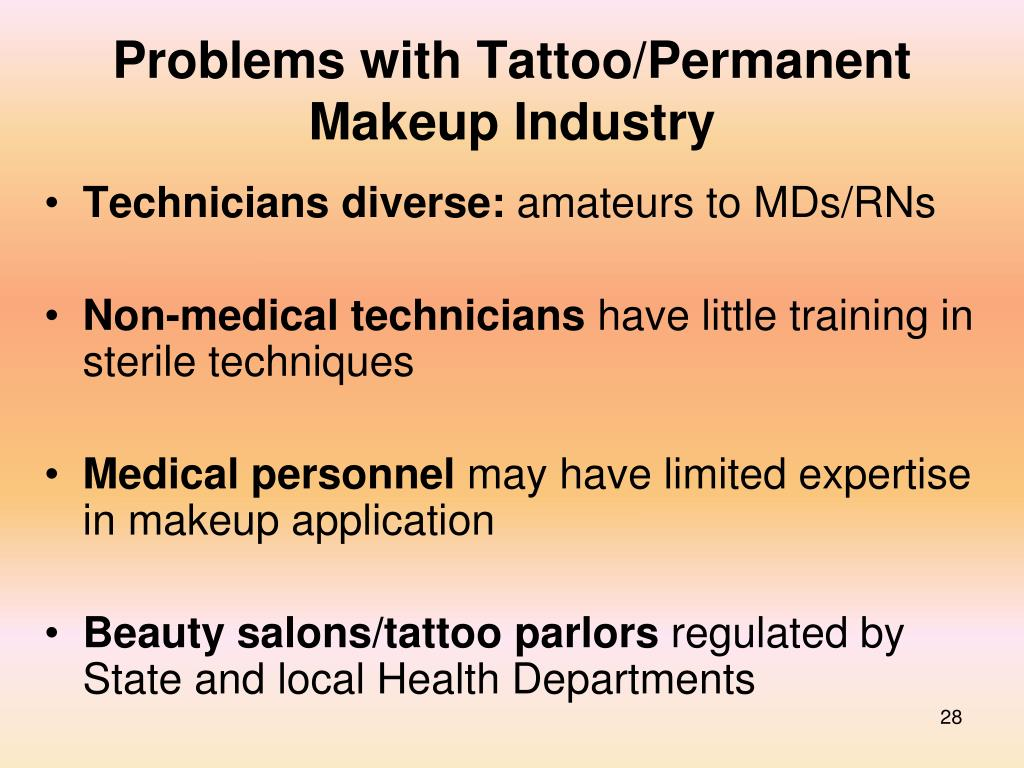 Problems with Tattoo/Permanent Makeup Industry