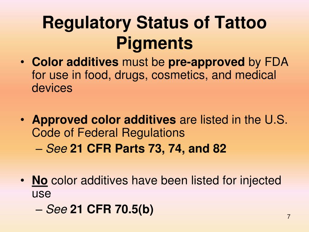 Regulatory Status of Tattoo Pigments