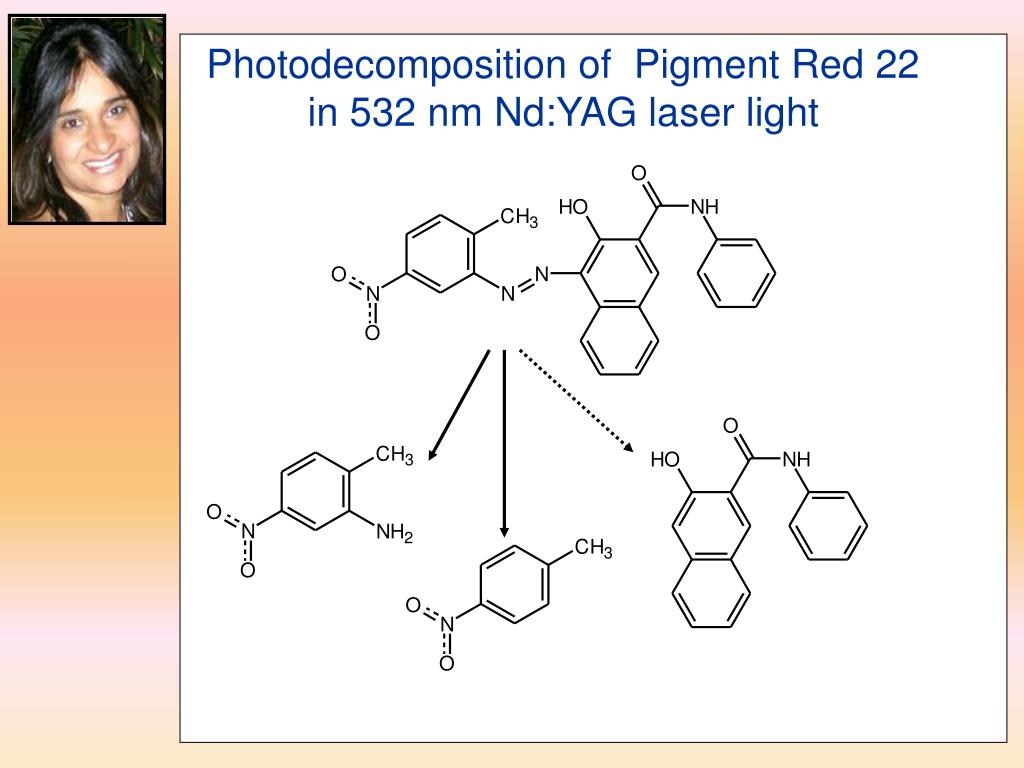 Photodecomposition of  Pigment Red 22