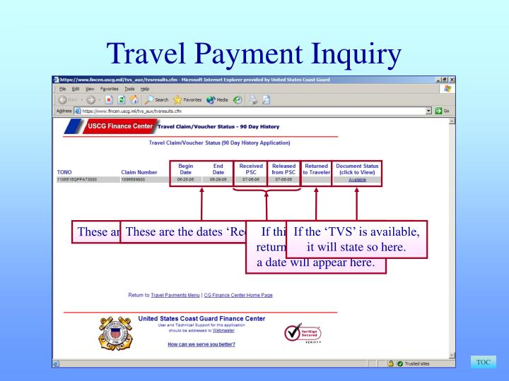Travel Payment Inquiry