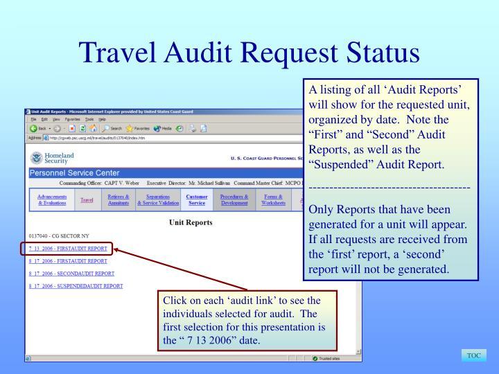 Travel Audit Request Status