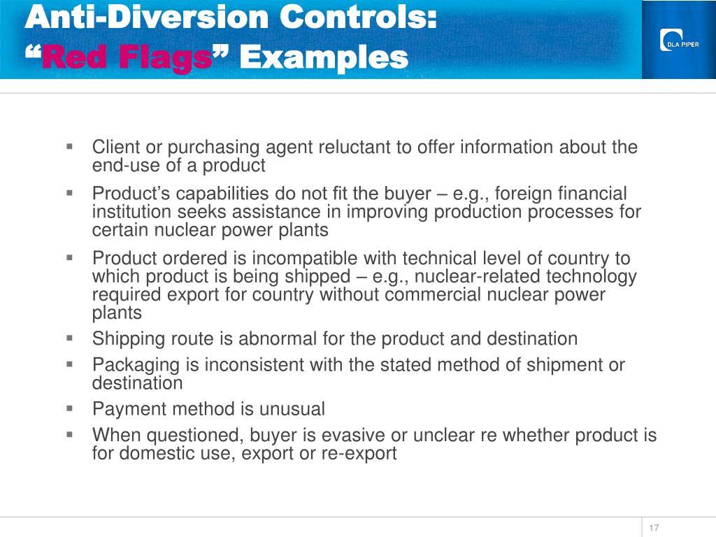 Anti-Diversion Controls: