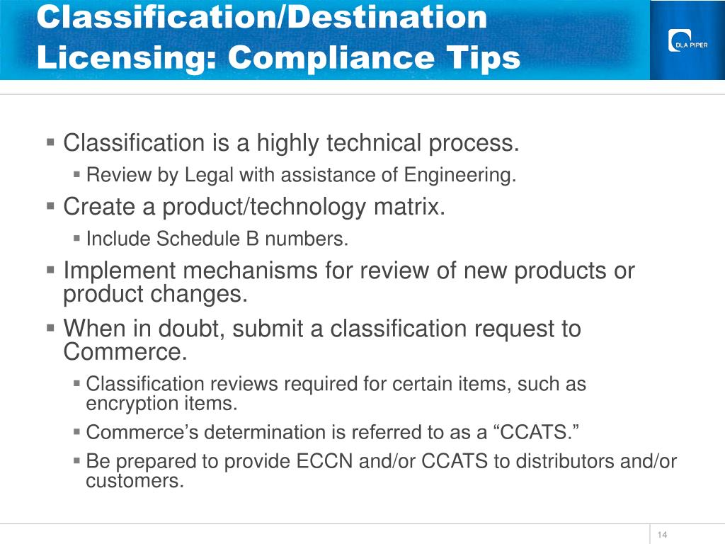 Classification/Destination Licensing: Compliance Tips