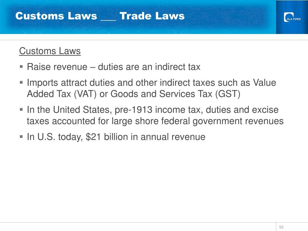 Customs Laws ___ Trade Laws