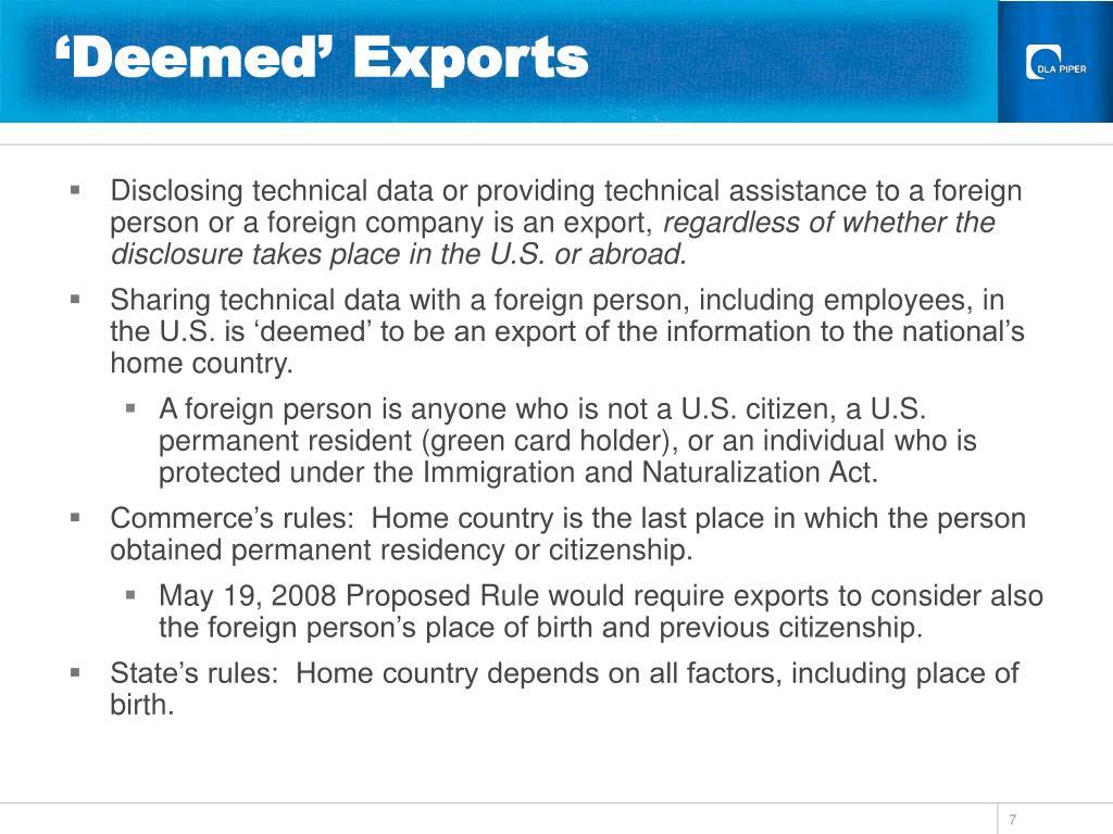 'Deemed' Exports