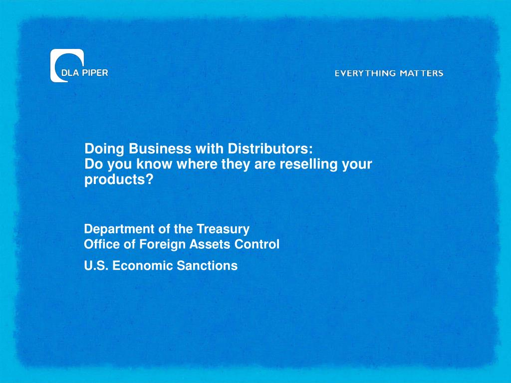 Doing Business with Distributors: