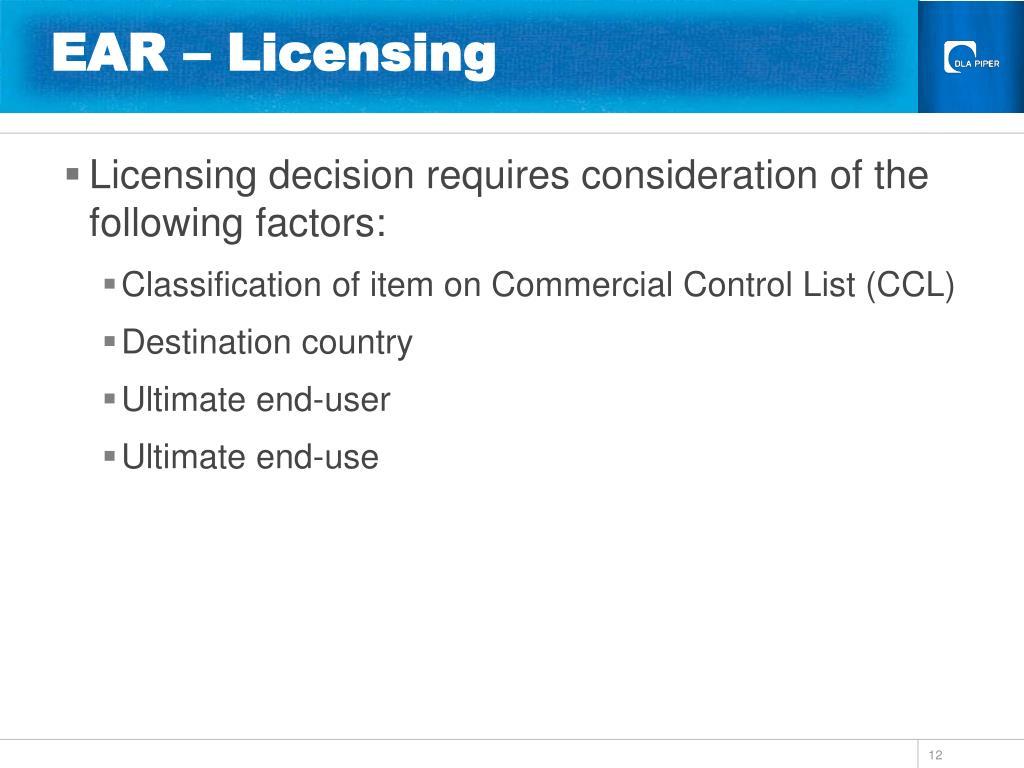 EAR – Licensing