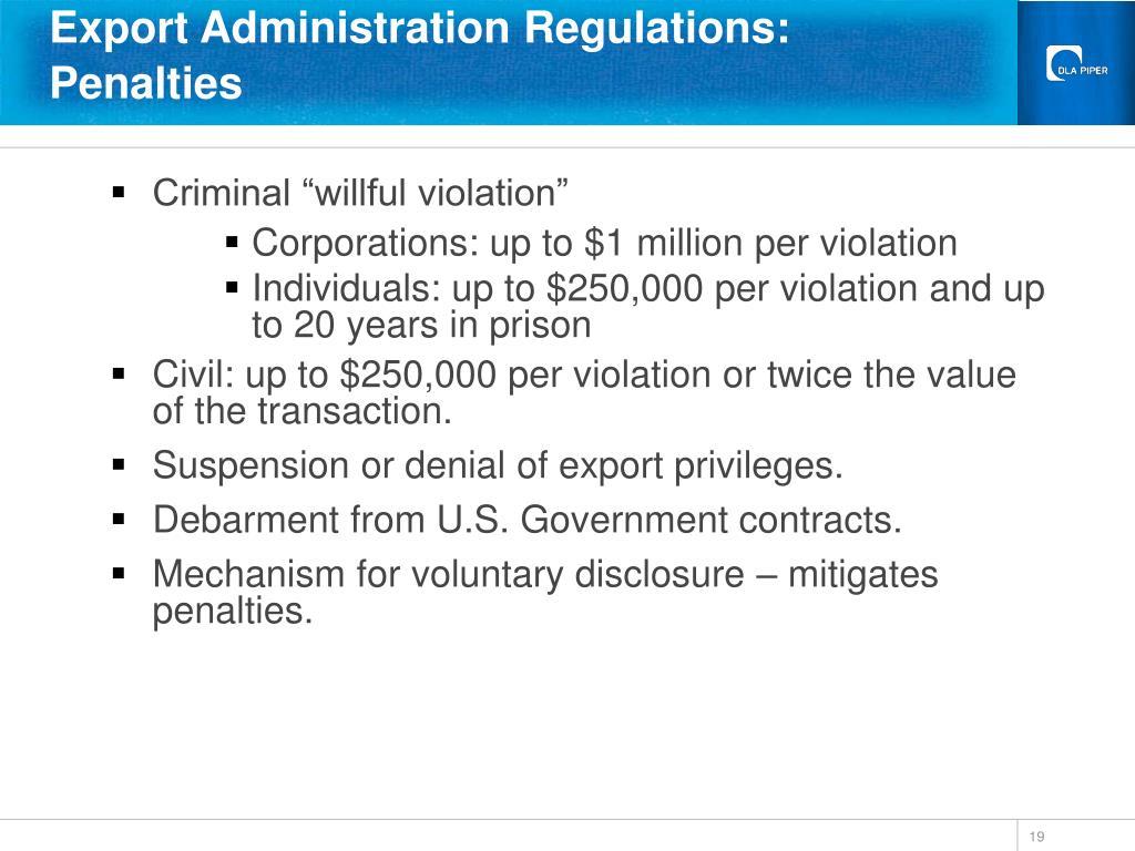 Export Administration Regulations: