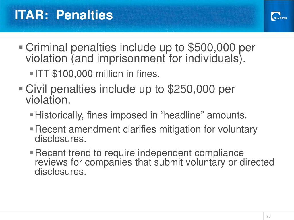ITAR:  Penalties