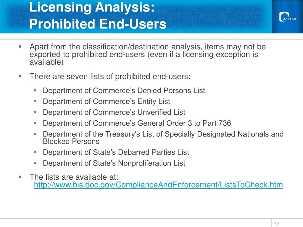 Licensing Analysis: