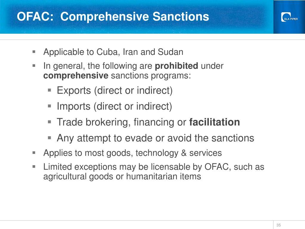 OFAC:  Comprehensive Sanctions