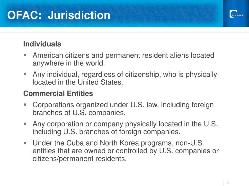 OFAC:  Jurisdiction