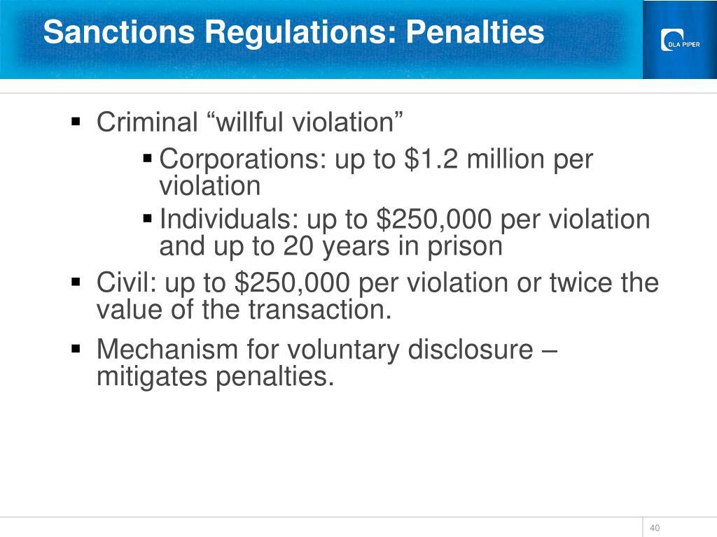 Sanctions Regulations: Penalties