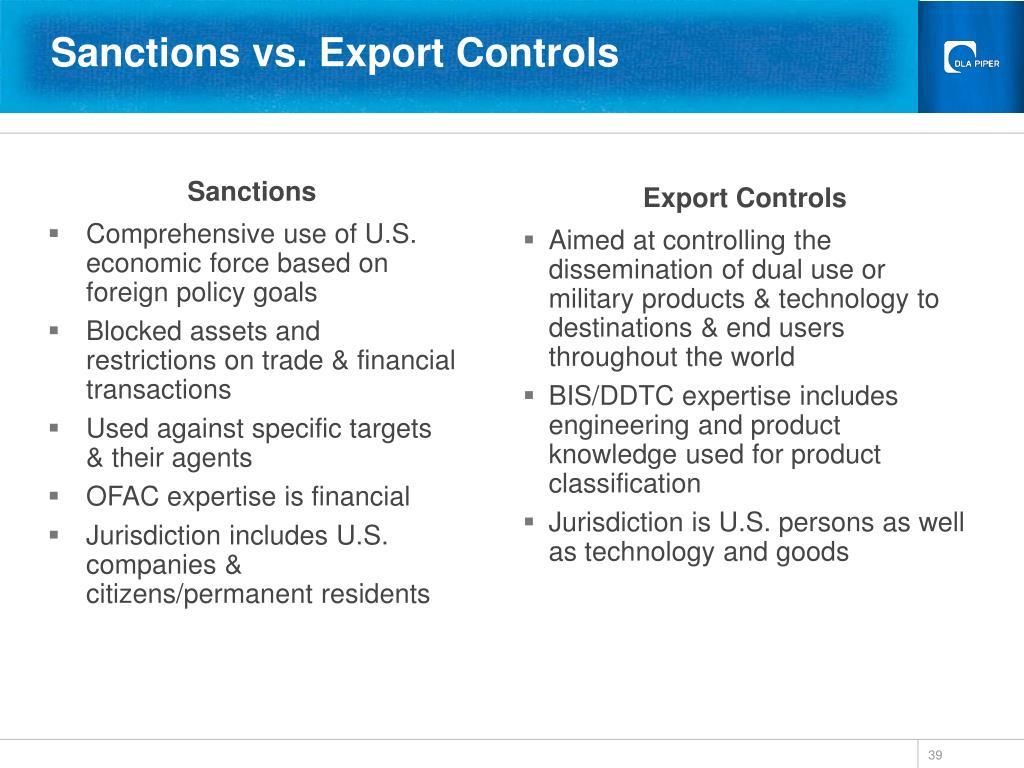 Sanctions vs. Export Controls