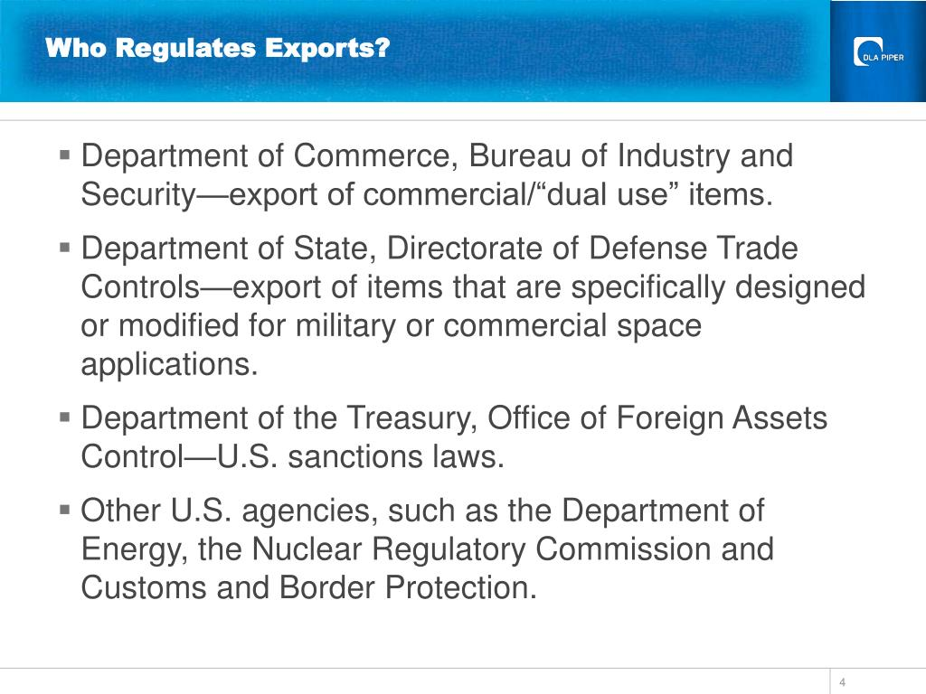 Who Regulates Exports?