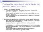 fonds public de co investissement avec pari passu au niveau de la pme1