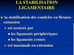 la stabilisation ligamentaire