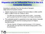 hispanics are an influential force in the u s consumer economy