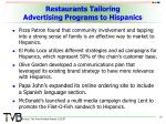 restaurants tailoring advertising programs to hispanics