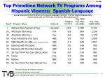 top primetime network tv programs among hispanic viewers spanish language