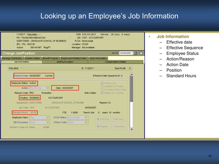 Looking up an Employee's Job Information