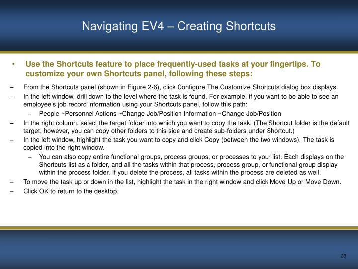 Navigating EV4 – Creating Shortcuts