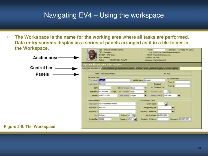 Navigating EV4 – Using the workspace