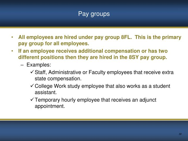Pay groups