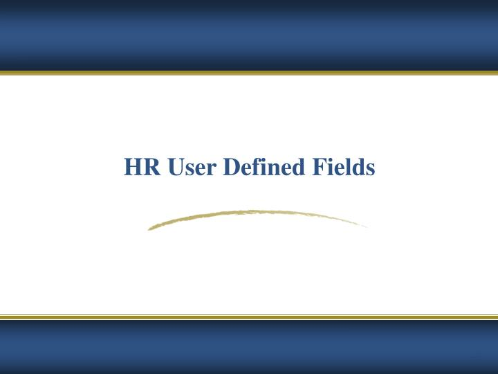 HR User Defined Fields