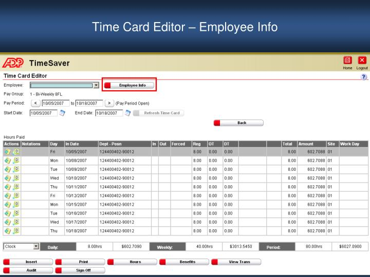 Time Card Editor – Employee Info