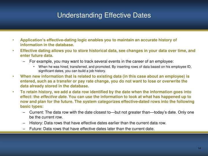 Understanding Effective Dates