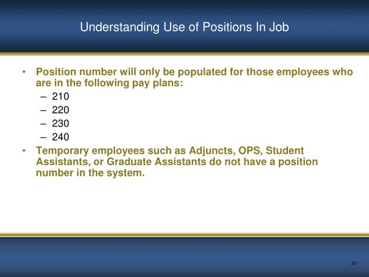 Understanding Use of Positions In Job