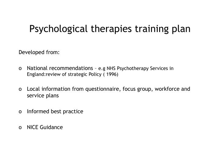 Psychological therapies training plan