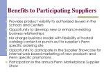 benefits to participating suppliers